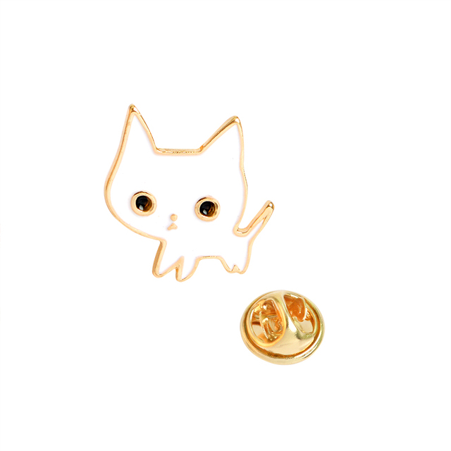 QIHE JEWELRY  Champagne Coupe Saucer Rose Flower Heart Shape White Cat Black Cat Lapel Pins Animal Brooch
