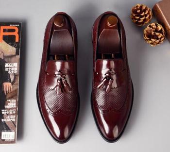 Men slip-on tassel handmade Oxfords Genuine Leather Formal dress Shoes For Man NEW  Business Office shoes big size 46