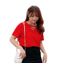 New fashion plus-size womens summer cotton short-sleeved v-neck T-shirt new Korean version short sleeved 2058