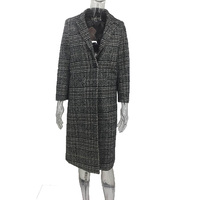 VogorSean Autumn Winter Women's Wool Blends Coat 2018 Fashion Plaid Long Woolen Coat Single buckle Loose Women Wool Coats Gray