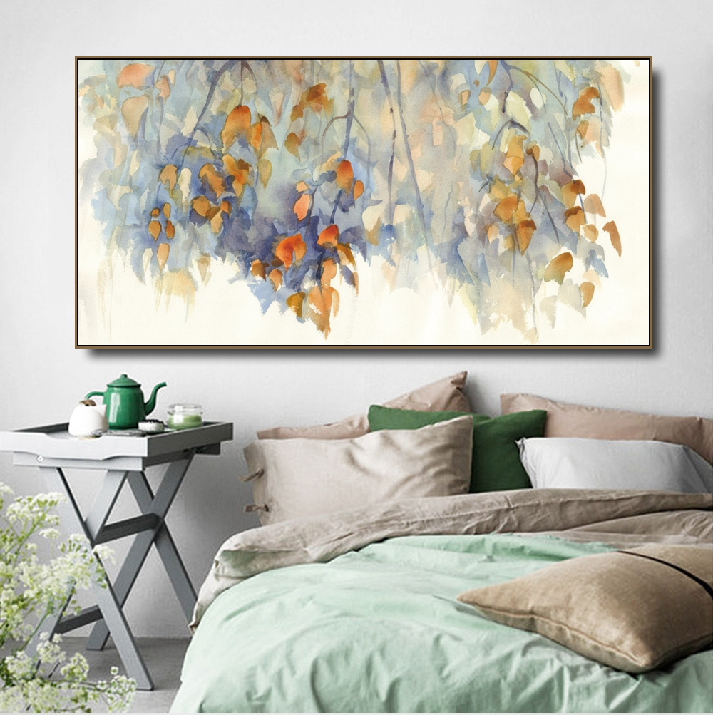 Maple leaves Watercolor Canvas Painting & Calligraphy Poster Print Living Room House Wall Decor Art Home Decoration Picture