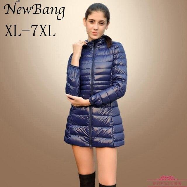 5XL 6XL 7XL New Women Ultra Light Duck Down Long Jacket Plus Size Autumn Winter Hooded Down Coat