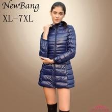 معطف نسائي من NewBang بمقاسات 5XL 6XL 7XL معطف نسائي فائق الخفة مزود ببطة وسترة طويلة بالإضافة إلى سترة واقية للنساء للخريف والشتاء
