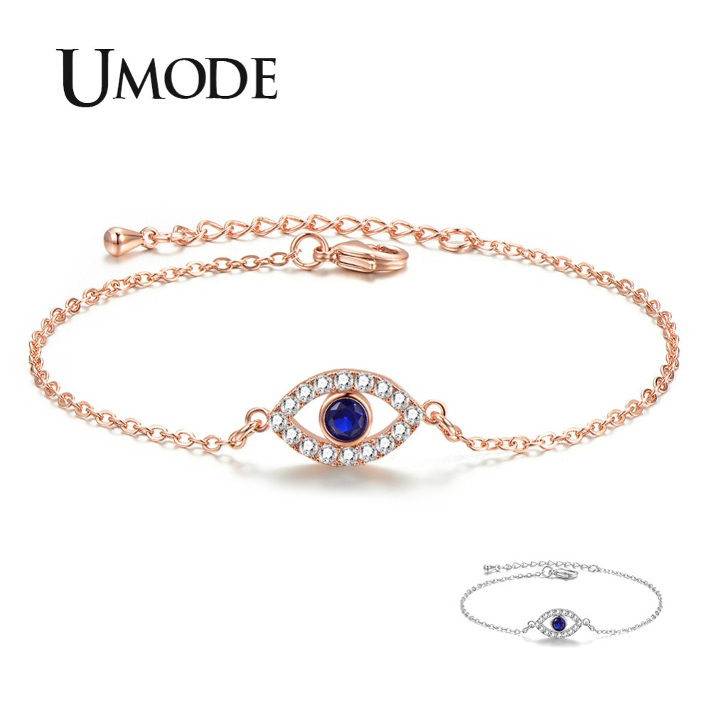 Jewelry & Accessories Umode Blue Evil Eye Bracelets For Women Link Chain Crystal Silver Bracelet Fashionable Jewelry Accessories Free Shipping Ub0166 To Be Highly Praised And Appreciated By The Consuming Public Chain & Link Bracelets