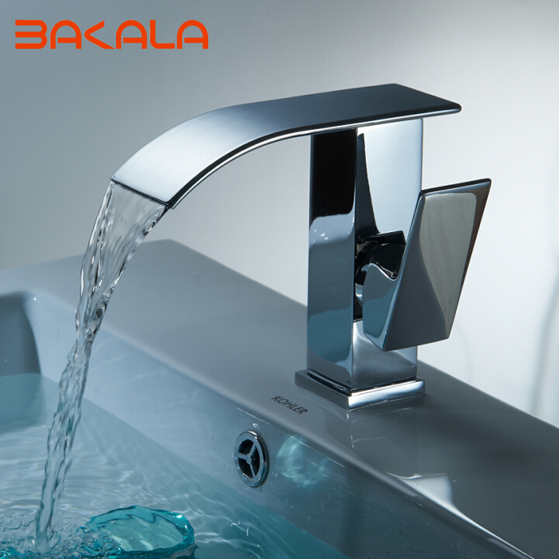 BAKALA Basin Faucets Waterfall Faucet Single Handle Basin Hot and Cold Mixer Bathroom Tap Sink Chrome Finish  LT-514A us free shipping wholesale and retail chrome finish bathrom sink basin faucet mixer tap dusl handle three holes wall mounted