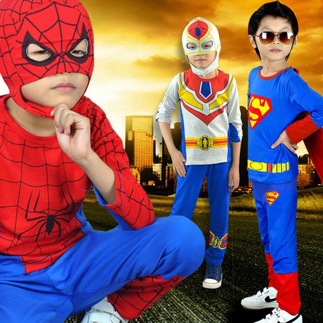 Nova Outono e Verão Crianças Ultraman Traje Homem Aranha Terno Meninos Conjuntos