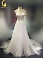 Rhine Real Sample Image New Sale Spaghetti Strap Slit A line Bridal Wedding Dress