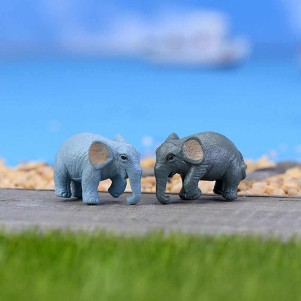 Miniatures Artificial 2 PCS Elephant Fairy Garden  Gnomes Moss  Resin Crafts