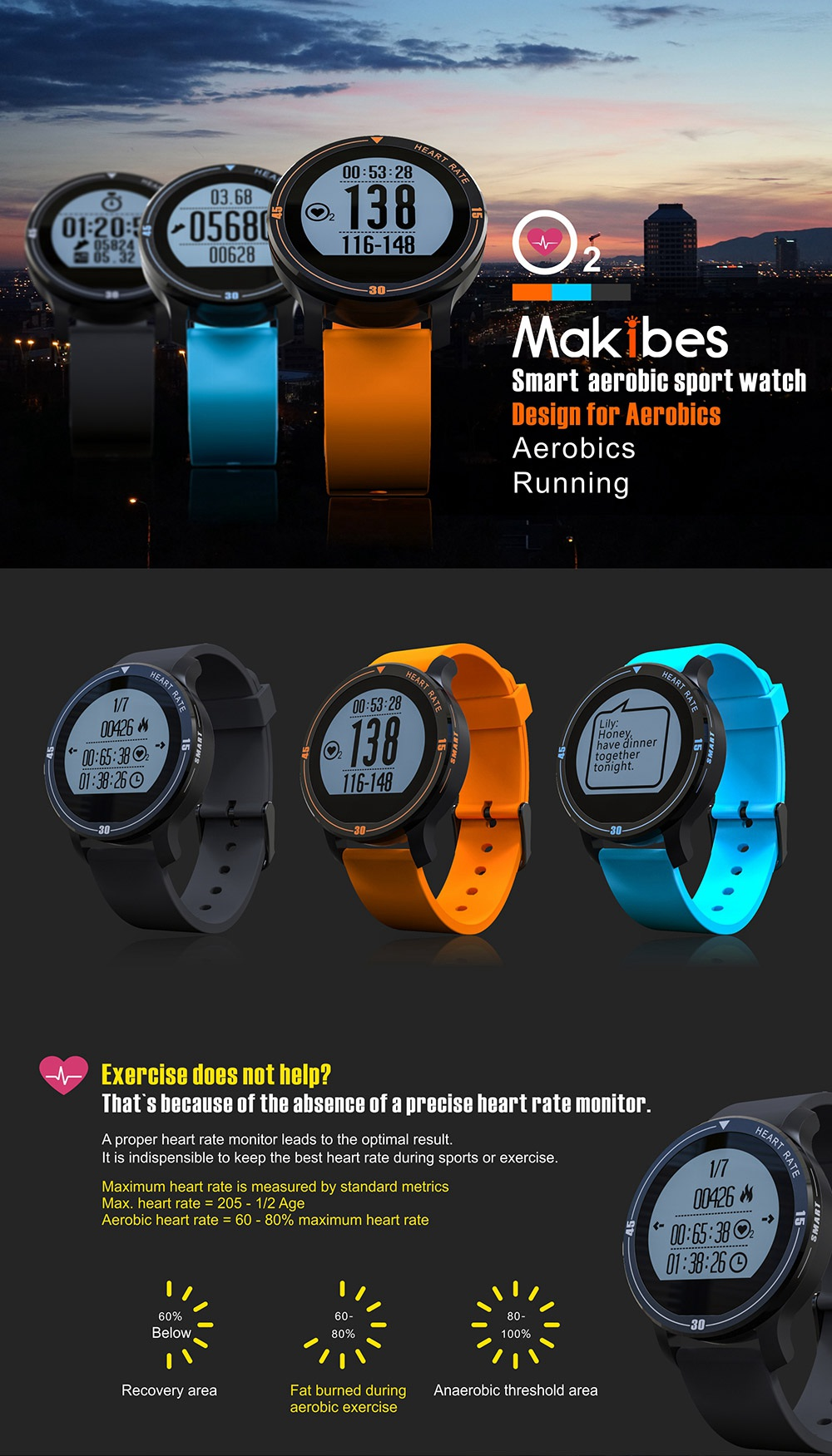 MAKIBES AEROBIC A1 SMART SPORTS WATCH BLUETOOTH DYNAMIC HEART RATE MONITOR SMARTWATCH S200 231407 15