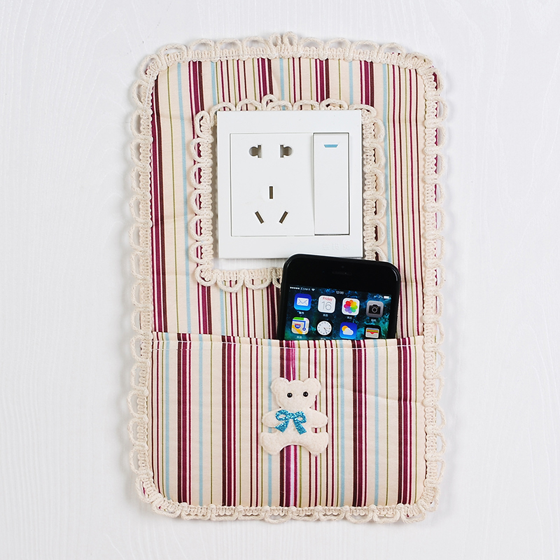 Fashion Wood grain style cloth wall socket protective sleeve decorative switch stick in Wall Stickers from Home Garden