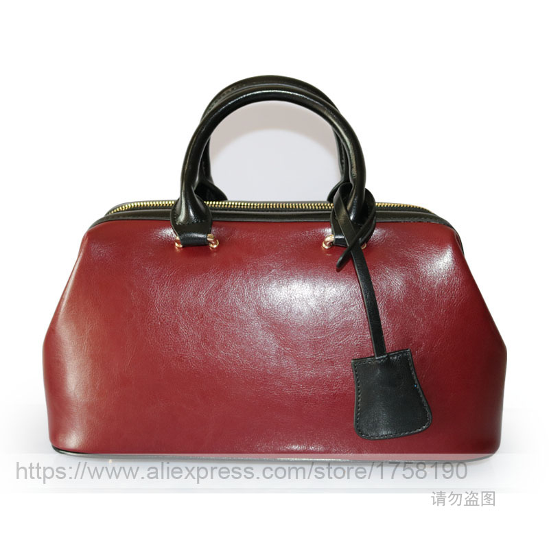 2017 new fashion Genuine leather bag luxury handbags women bags designer famous brand messenger bags doctor bag