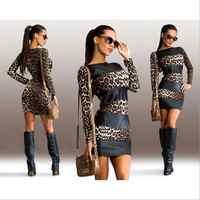 Estilo chic retales de leopardo vestidos de mujer primavera otoño Delgado moda leopardo body con mini vestidos femeninos