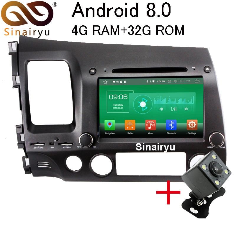 Sinairyu 4 г Оперативная память Android 8.0 автомобильный DVD для Honda Civic 2006 2007 2008 2009 2010 2011 32 г Оперативная память радио GPS мультимедийный плеер головное ...