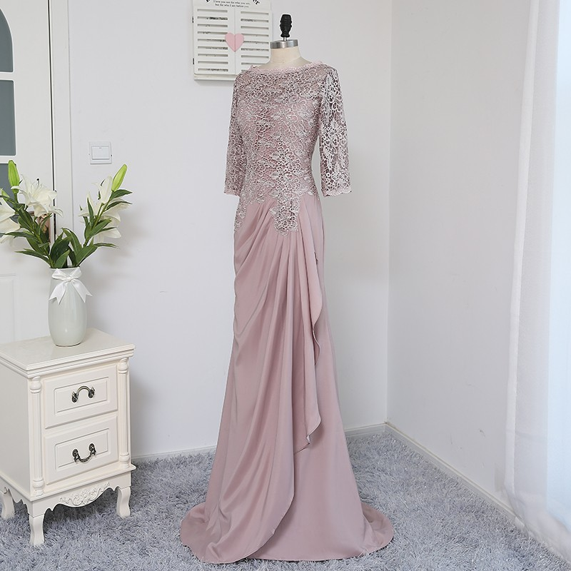 Plus Size Brown 2018 Mother Of The Bride Dresses A-line 3/4 Sleeves Chiffon Lace Wedding Party Dress Mother Dresses For Wedding 5