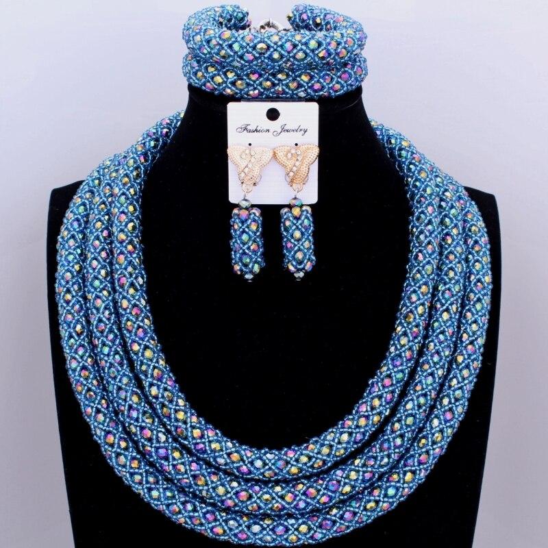 Gorgeous Dubai Colorful Jewelry Set 3 Layers Nigerian Beads ...