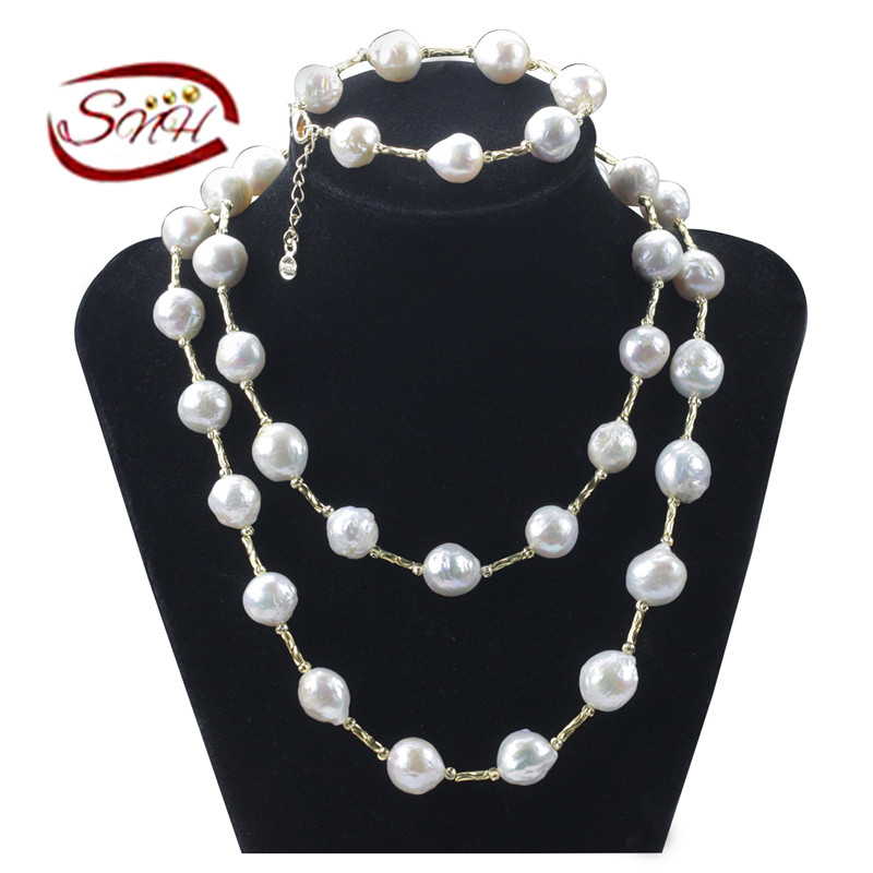2016 SNH 12mm edison AA 100%925silver hot sale edison gold color pearl necklace jewelry set