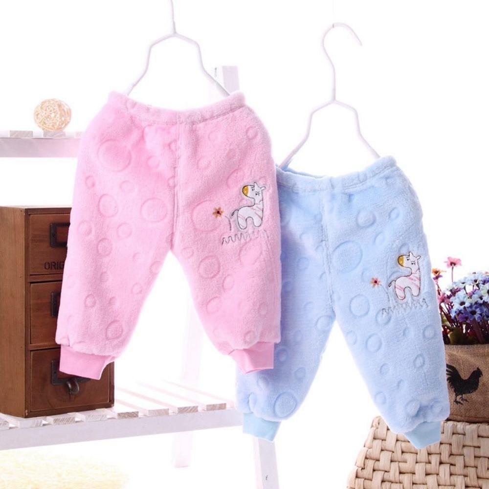 Warm Newborn Toddler Children Clothing Baby Babi Kids Boys Cartoon Girls Infant Keep Warm Flannel Long Pants MT354