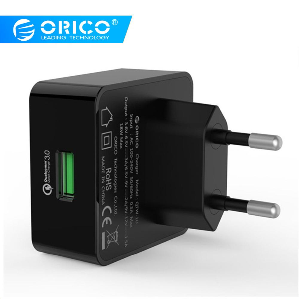 ORICO 1 Port QC3.0 USB Quick Charger Wall Charger with 1m Free Micro USB Cable EU/US/UK Type Plug-Black(QTW-1U) electronics