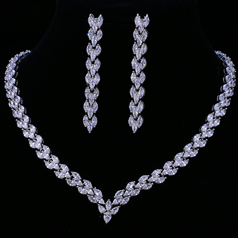 Emmaya Exquisite Cubic Zirconia Wedding Party Jewelry Set Gold Color High Quality CZ Bridal Necklace Earring