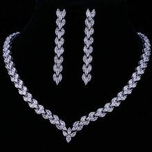Emmaya 절묘한 입방 지르코니아 웨딩 파티 쥬얼리 세트 골드 컬러 고품질 cz 신부 목걸이 귀걸이
