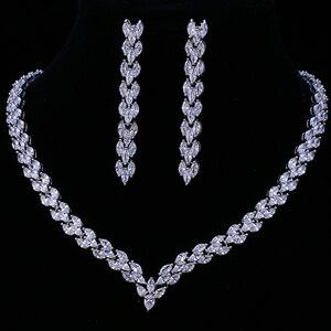 Image 1 - Комплект свадебных украшений Emmaya, золотистого цвета с фианитом, свадебное ожерелье, серьги