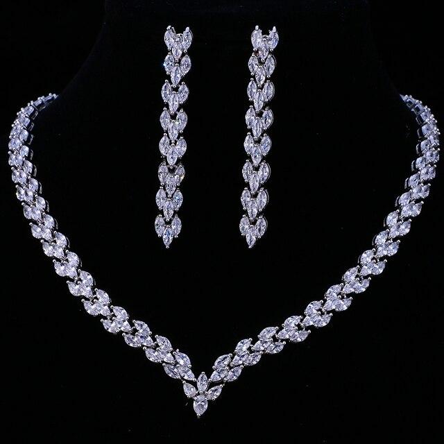 Комплект свадебных украшений Emmaya, золотистого цвета с фианитом, свадебное ожерелье, серьги