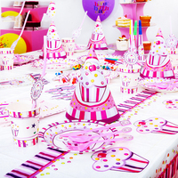 99 Pcs Pink birthday party ice cream disposable paper cup plates Flags party birthday Decoration Kids party supplies baby shower