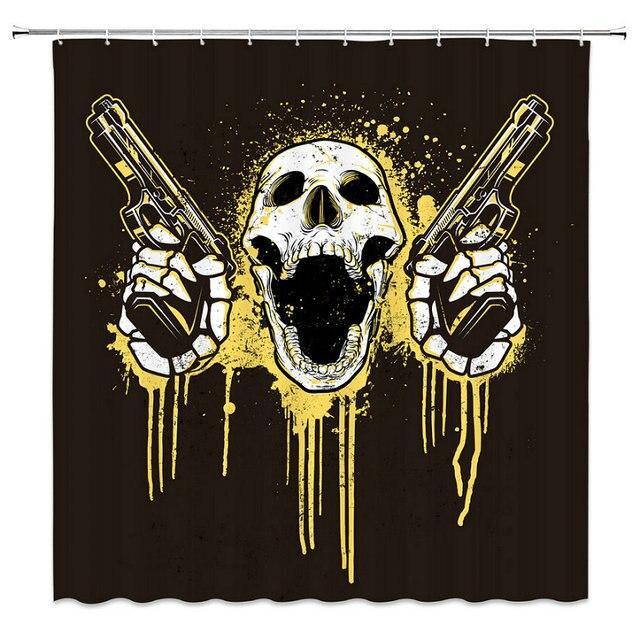 Horror Series Skull Head Black White Yellow Human Pistol Bathroom Curtain Shower Waterproof Anti Fungal Polyester