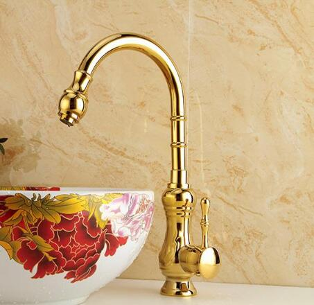 fashion high quality basin tap Gold art carved cold and hot bathroom basin faucet sink faucet