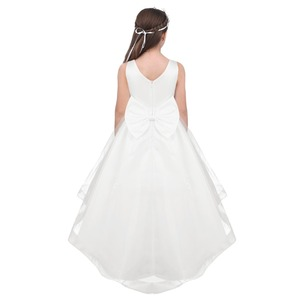 Image 2 - שנהב/לבן בנות Bowknot גבוהה נמוך Hem פרח ילדה שמלת נסיכת תחרות מסיבת יום הולדת שמלת ילדים ראשית הקודש שמלות