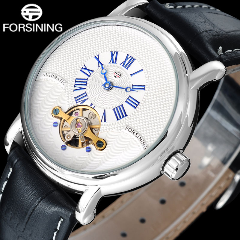 FORSINING brand men luxury mechanical watches leather strap casual men s automatic tourbillion watches male silver
