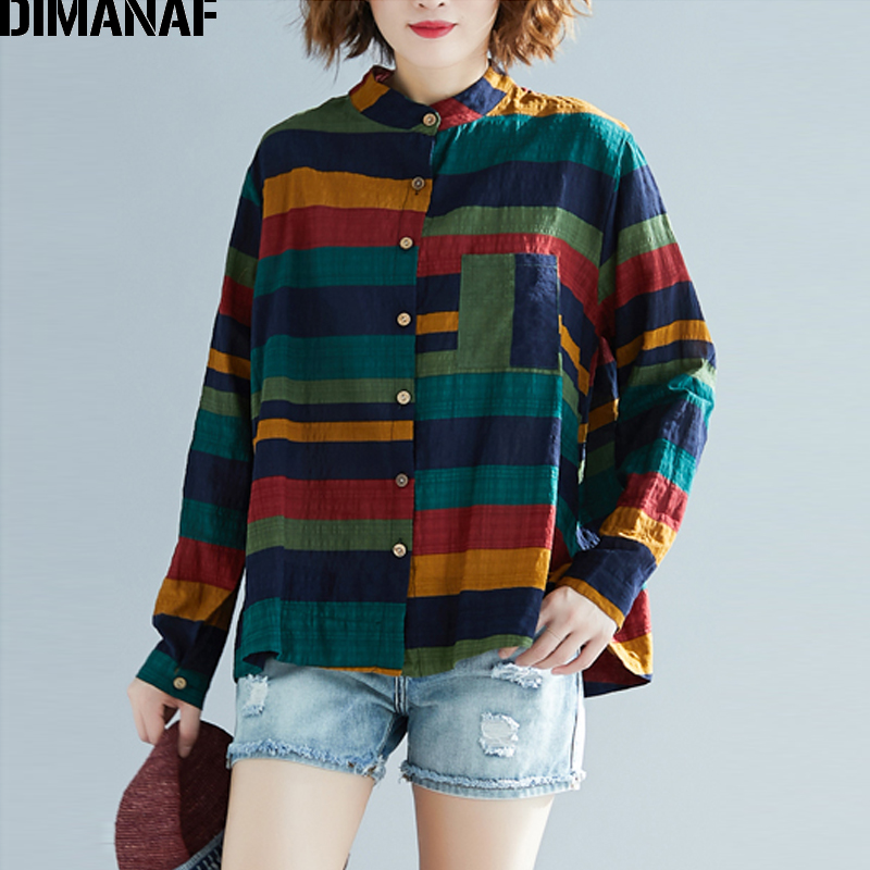 DIMANAF Plus Size Women Blouse Shirts Lady Tops Vintage Loose Female Clothes 2019 New Autumn Casual Long Sleeve Striped Cardigan