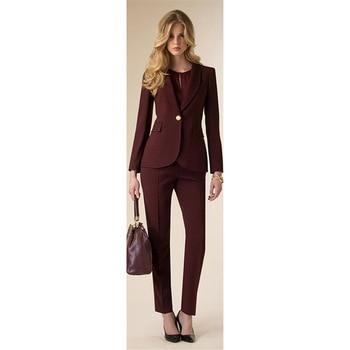 Jacket+Pants Womens Business Suit Wine Red Female Office Uniform Ladies Formal Trouser 2 Piece Suit Evening Prom Party Tuxedos