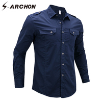 S ARCHON Autumn US Army Flight Tactical Shirts Men Casual Breathable Long Sleeve Cotton Military Air