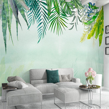 Beibehang Nordic minimalist fresh green leaves watercolor style cactus wall custom large mural wallpaper papel de parede