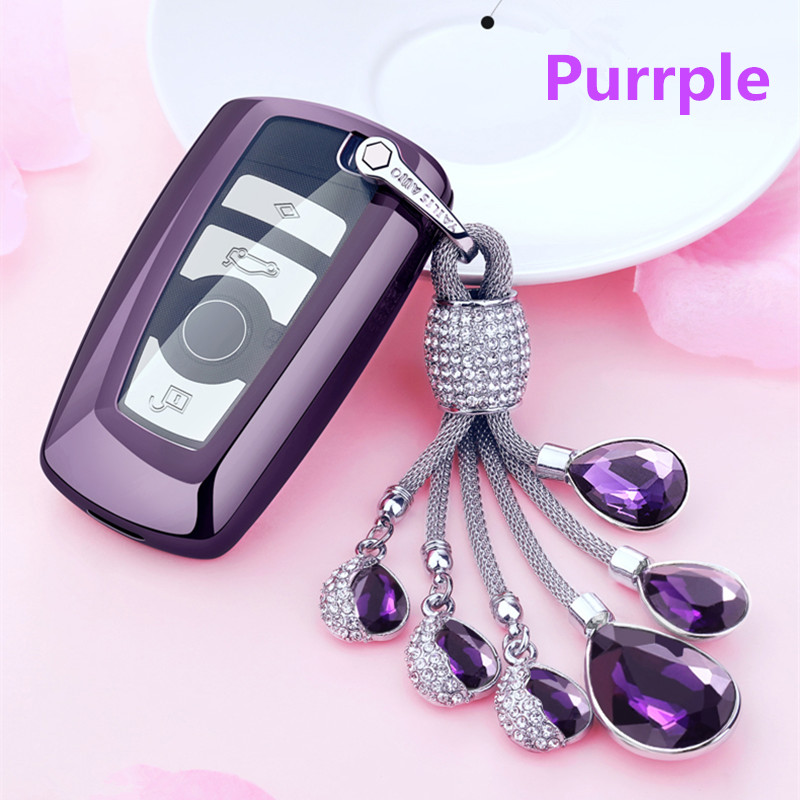Full Protective TPU Soft Car Key Case Shell Key Holder Key Covers For BMW 1234567 Series F07 F10 F11  Artificial Crystal Pendant|Key Case for Car|   - title=