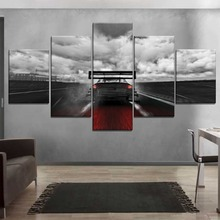 Modern Artwork Canvas Painting On The Wall Decor Framework Print Type 5 Panel Sky Cloud Motion Blur Race Car Picture Home