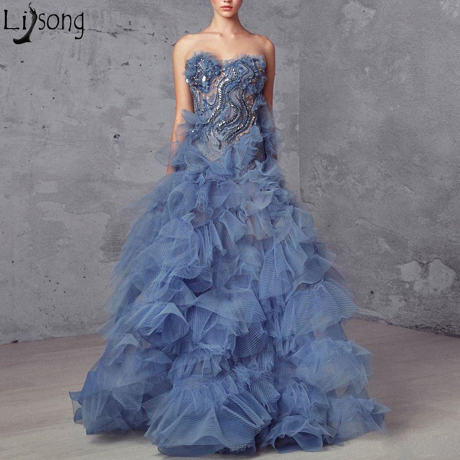 2019 New Chic Ruffles Prom Dresses Off the Shoulder Beaded Crystals Unique Long Evening Gowns Blue Zipper Back Robe de soiree