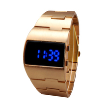 New Fashion Digital Men Full Steel Led Watch Sport Watches Men Military Watches Metal LED Faceless