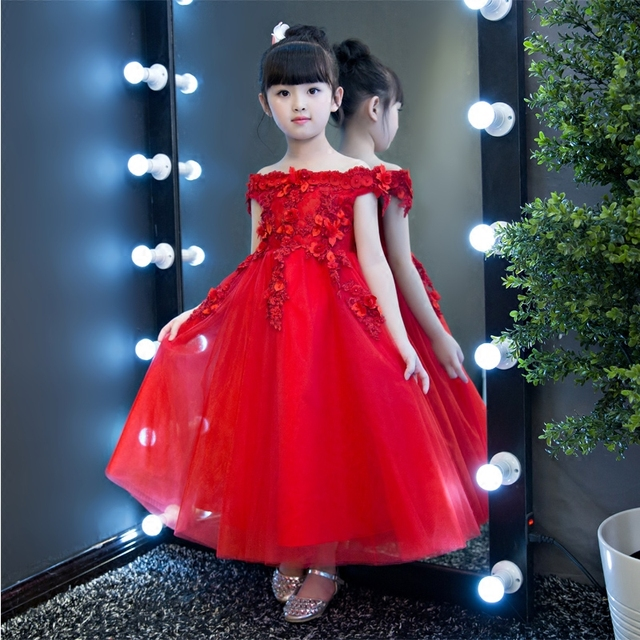 Red Kids Pageant Dress for Wedding Birthday Party Off the Shoulder Ball  Gown Princess Dress Appliques Flower Girl Dresses B30 9ad410b582f7