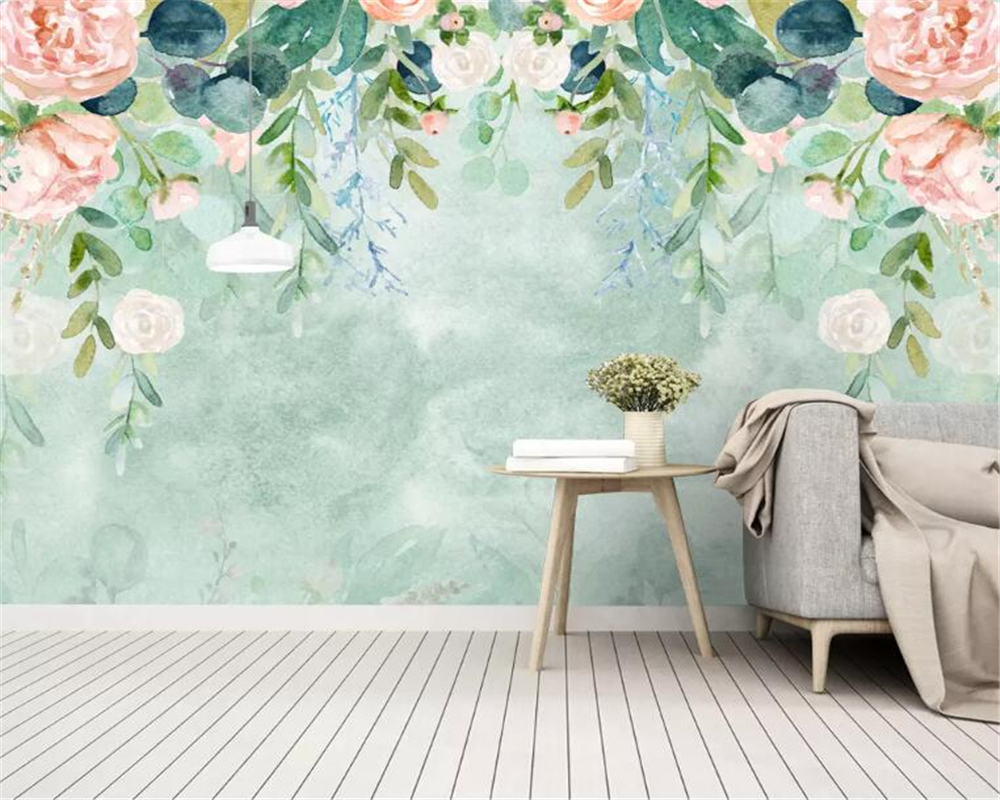 Beibehang Custom Photo 3d Wallpaper Nordic Small Fresh Hand-painted Watercolor Cartoon Flowers Mural Background Wall Wallpaper