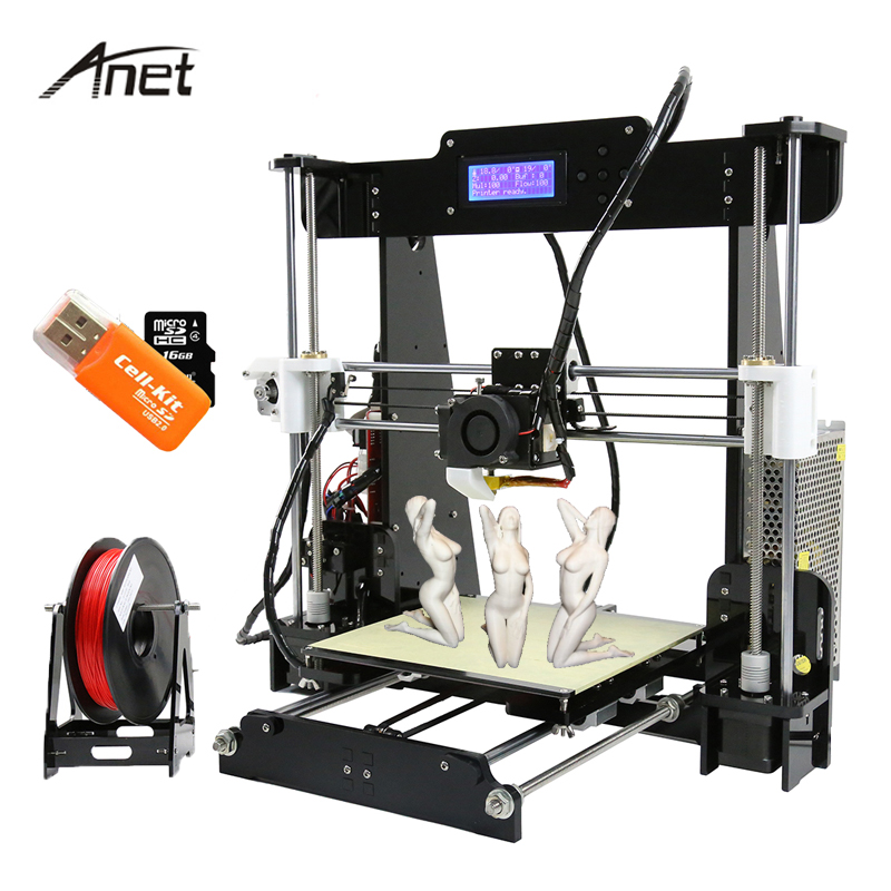 Anet A8 High Precision 3D Printer Reprap Prusa i3 Print DIY 3D Printer Kit With Aluminum HotBed+ 10m Filament +8G SD Card+Tools easy assemble anet a6 a8 3d printer kit high precision reprap prusa i3 diy 3d printing machine hotbed filament sd card lcd