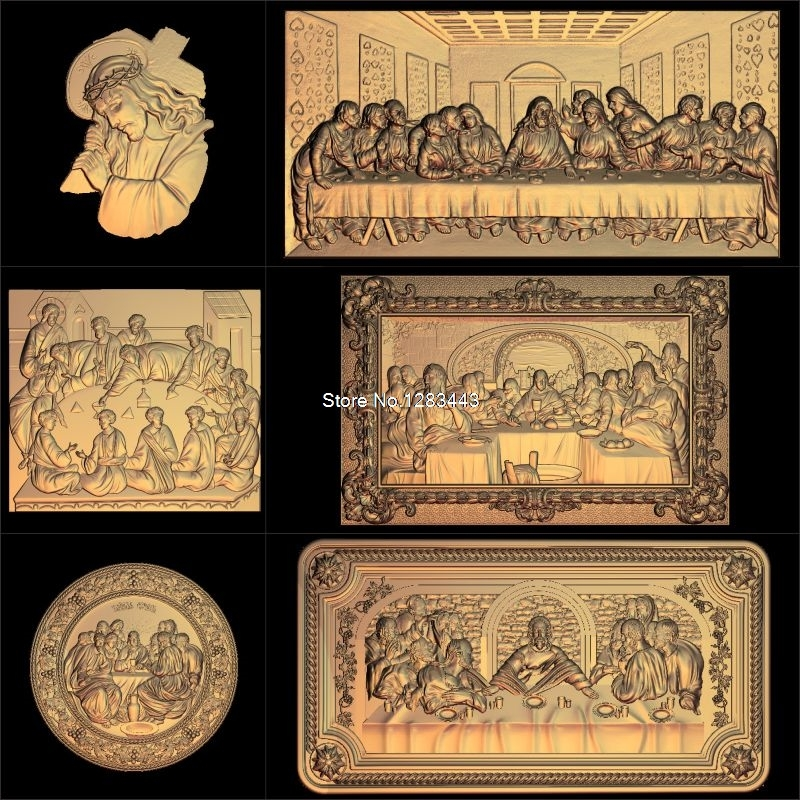 6pcs Jesus_Lords Supper 3d Model STL Relief For Cnc STL Format Lords Supper 3d Relief Model STL Router 3 Axis Engraver ArtCam