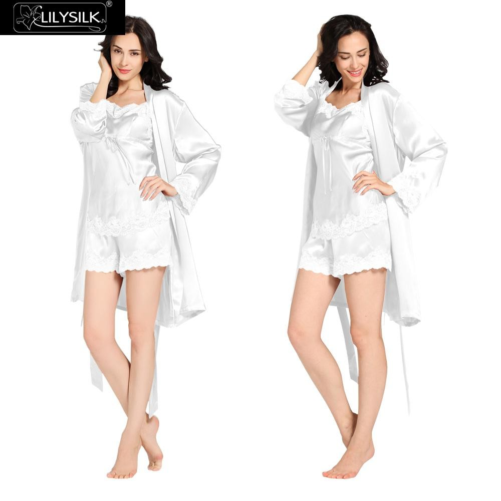 1000-white-22-momme-short-lacey-silk-camisole-&-dressing-gown-set