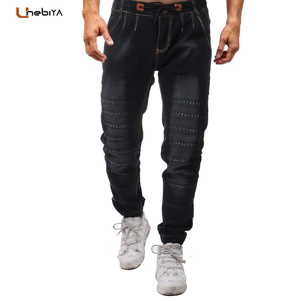 Unebiya Black Jeans Men Hi-Street Hole Distressed Bike Jeans Pants Elastic Waist Drawstring Male Straight Trousers Pleated Pants