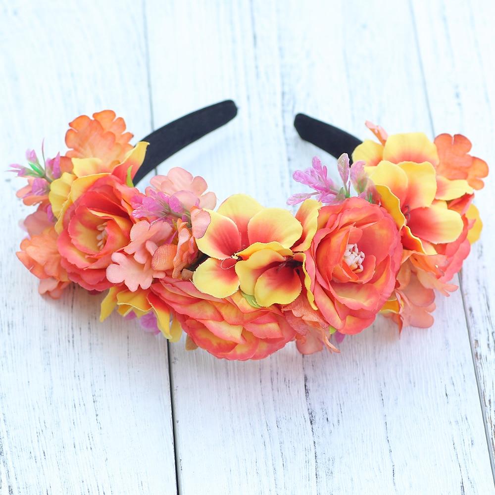 5 Colors Flower Crown Wedding Bride Wreath Floral Headpiece Bohemia