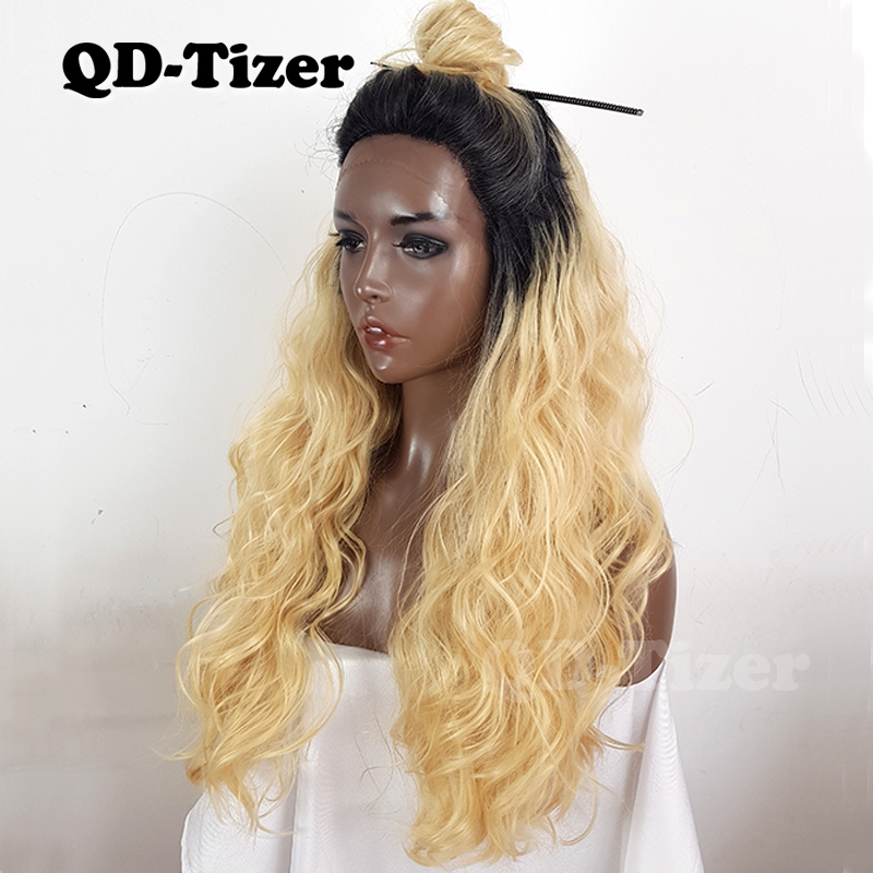 Hair Extensions & Wigs Punctual Qd-tizer Blonde Loose Wave Lace Front Wigs Long Ombre 613 Synthetic Wigs For Black Women Heat Resistant Free Shipping Synthetic Lace Wigs