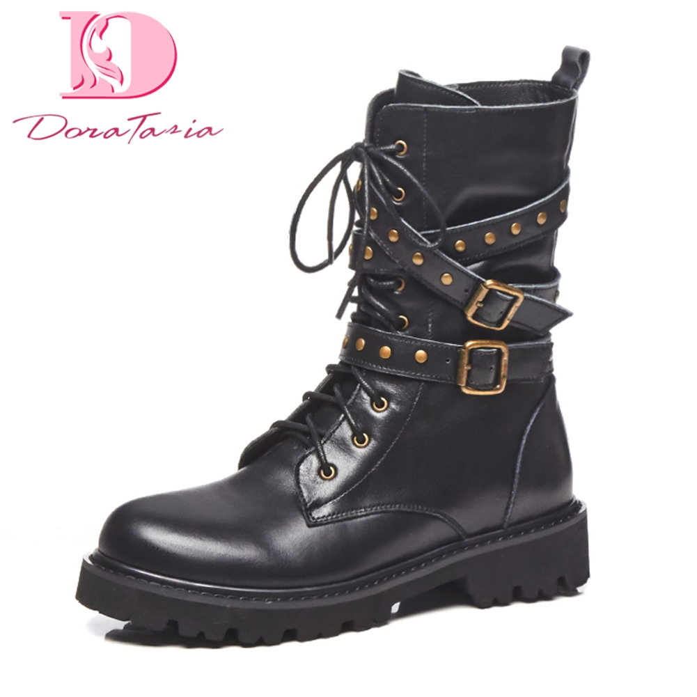 Doratasia plus Size 34-40 Genuine Leather Zip Up Cow Leather mid-calf Boots Woman Shoes fashion martin Boots Shoes Women doratasia 2018 genuine leather zip up cow leather shoes woman martin boots chunky heels wholesale mid calf boots woman shoes