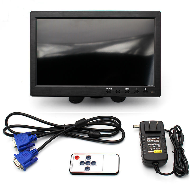 10.1 TFT LCD Color Thin 2 Video Input PC Audio Video Display VGA HDMI AV Interface Monitor Screen with Remote Control