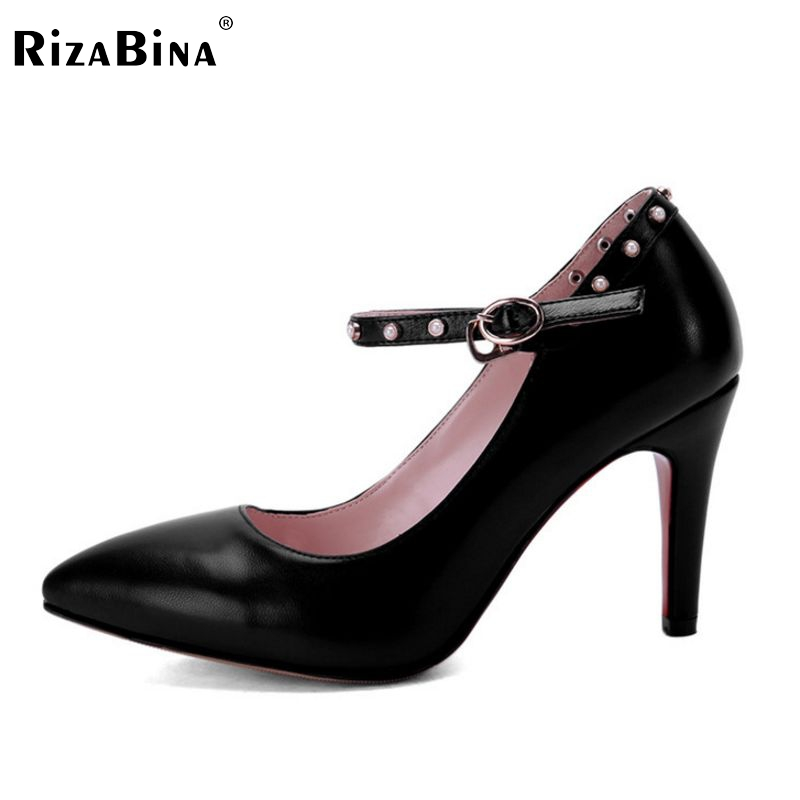 ФОТО size 33-42 thin heel ankle strap lady shoes rivets stylish dress footwear hot sale brand quality heeled pumps P23134
